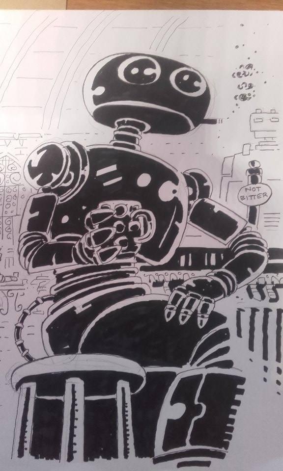 A4 B/W sketch, Malta comic con, 2017