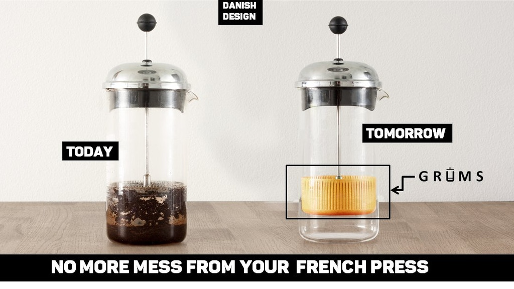 GRUMS - The french press coffee grounds collector project video thumbnail