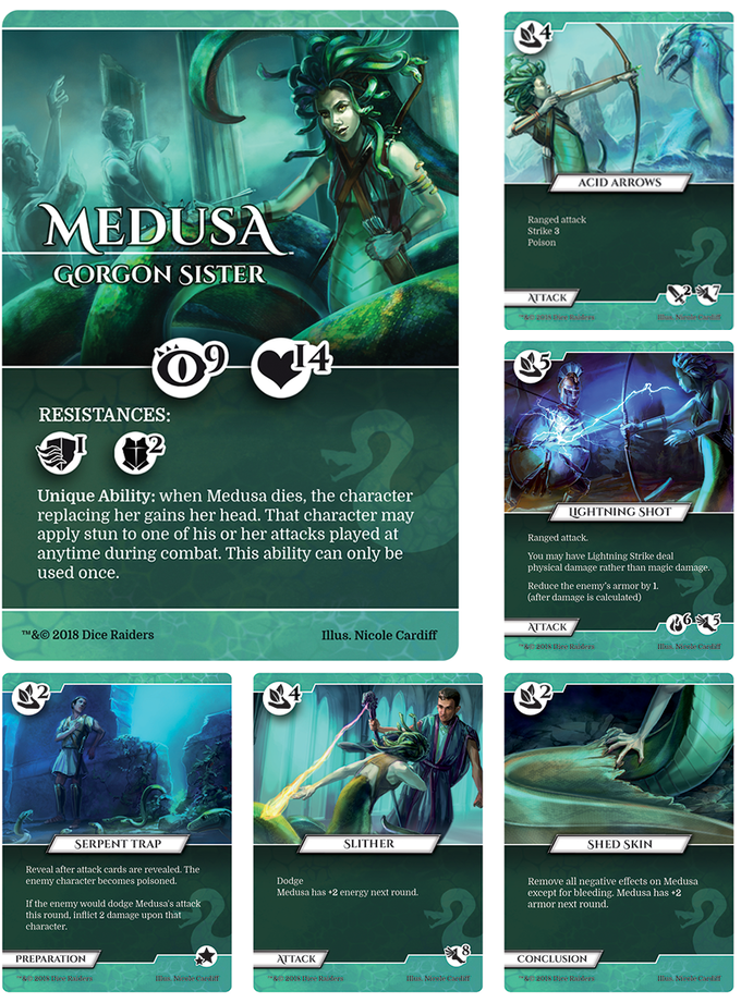 Medusa is an elusive fighter, using poison and evasion to overcome stronger adversaries. She is both a skilled marksman and deadly up close.