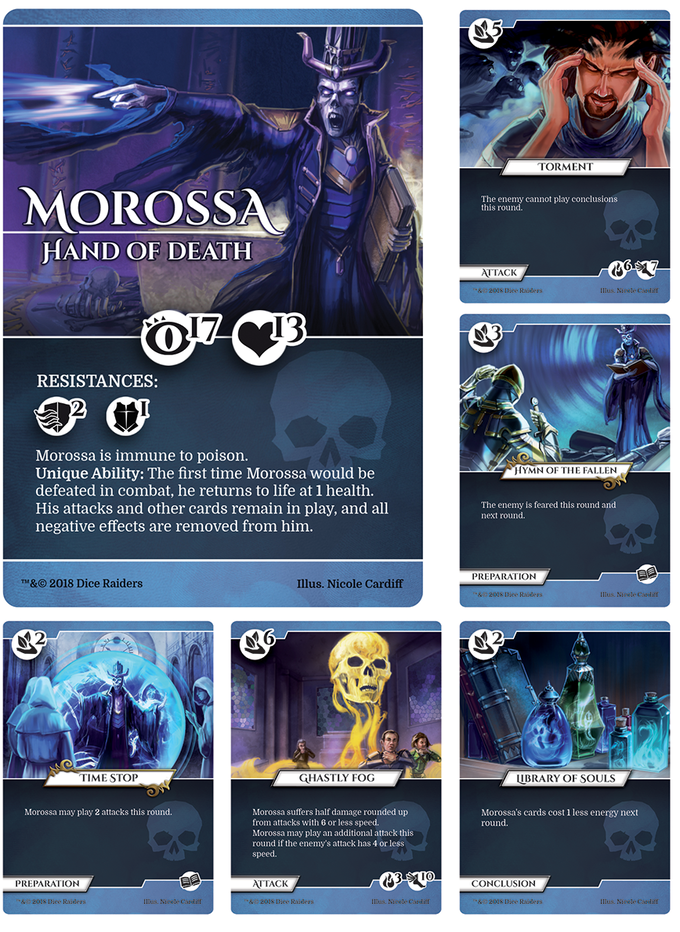 Skilled in the art of necromancy, Morossa is a lich-lord that uses dark magic to hinder and harm his opponents.