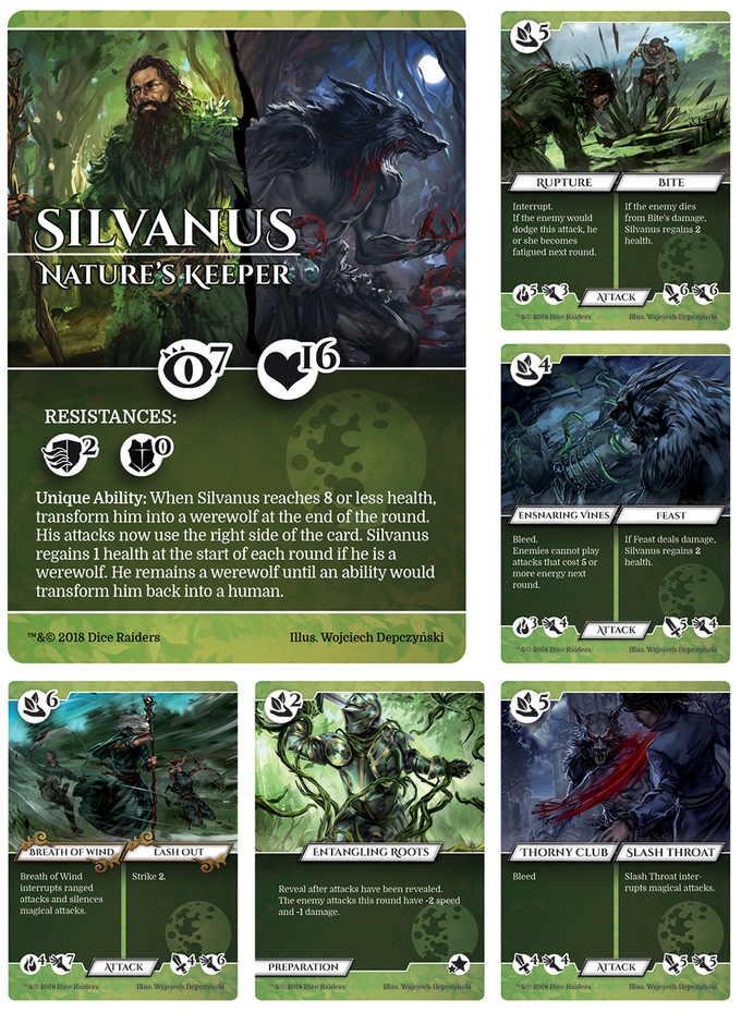Silvanus has spent his life defending the ancient forest from expansion. When his spells fail him, he transforms into a werewolf to fend off pesky intruders.