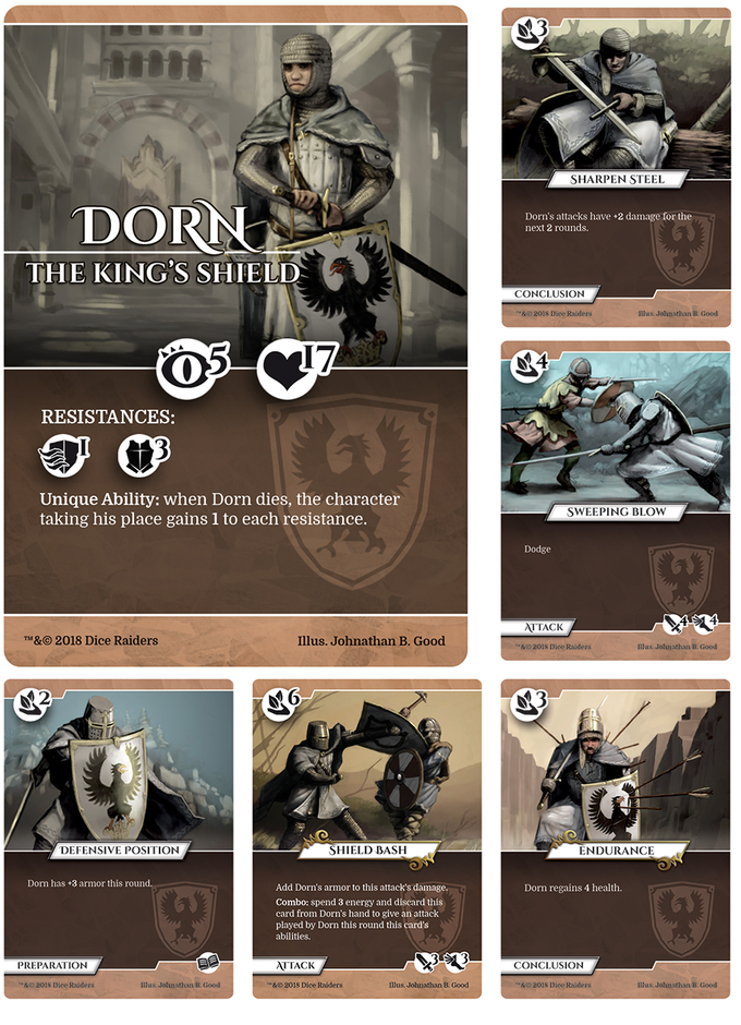 Pledging his life to defend the Crown, Dorn is a venerable bodyguard who is a challenging opponent in a fair fight.