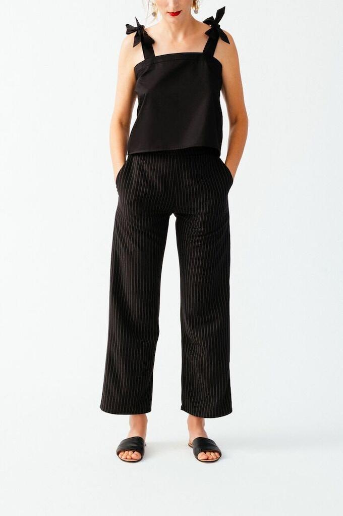 Ellice Ruiz | Emmalee wearing the Belen Top in Black & Clare Pant in Black Pinstripe