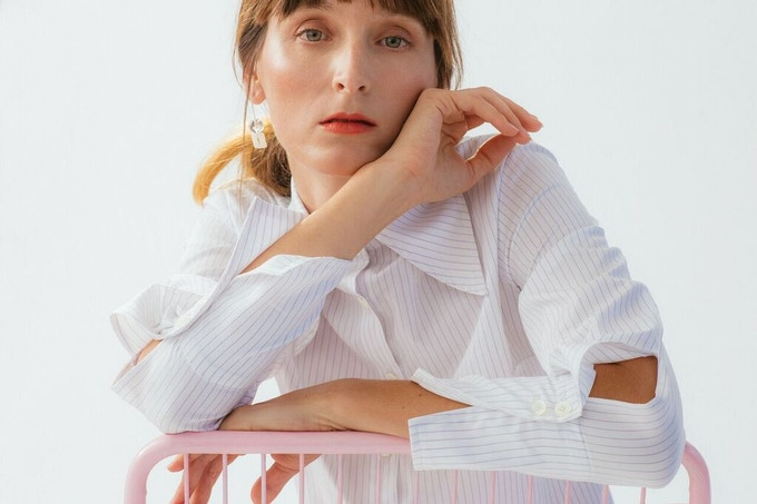 Ellice Ruiz | Emmalee wearing the Jeanette Shirt in White Pinstripe