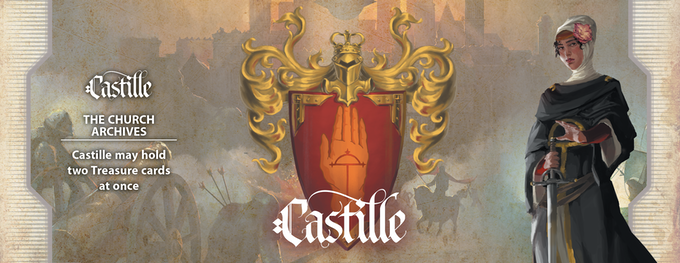 Home of the Vaticine Church, the people of Castille are the most educated and devoted in Théah. They are also the most knowledgeable about its secrets. Because of that education, Castile can pursue two Treasure Cards at a time rather than just one.