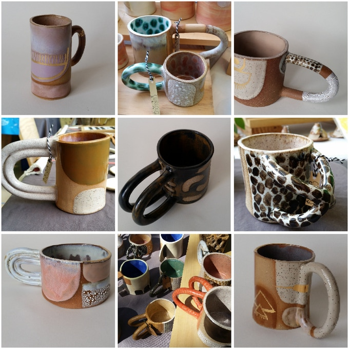 set of 4 OOAK Curious Clay mugs (a $200 value and a Kickstarter exclusive)