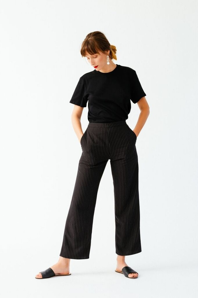 Ellice Ruiz | Emmalee wearing the Angie T-shirt in Black & the Clare Pant in Black Pinstripe
