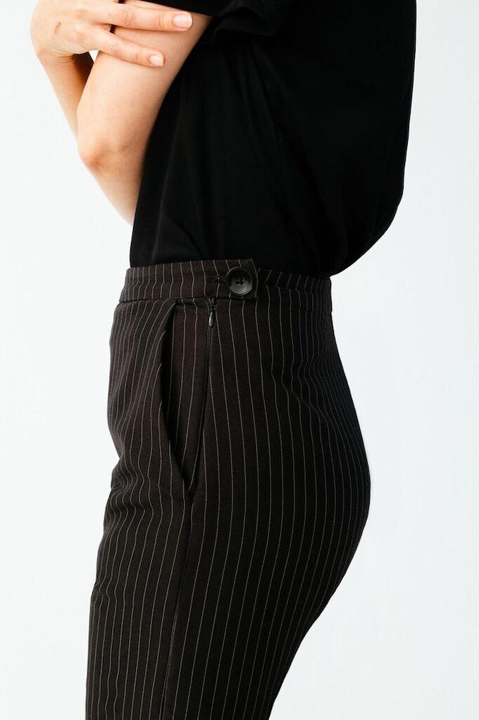 Ellice Ruiz | Emmalee wearing the Clare Pant in Black Pinstripe