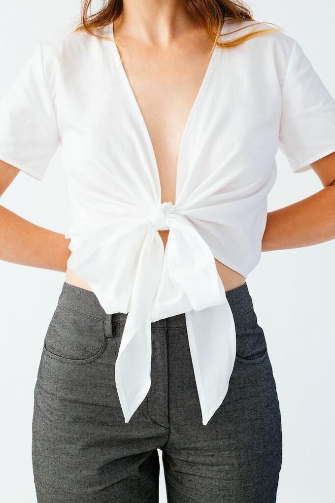 Ellice Ruiz | Emmalee wearing the Keri Top in White & the Katie Pant in Grey