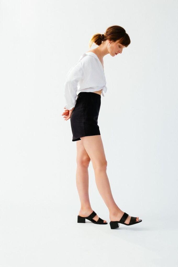 Ellice Ruiz | Emmalee wearing the Steph Short in Black & Jeanette Shirt in White Pinstripe