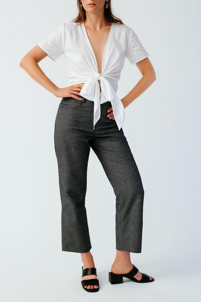 Ellice Ruiz | Emmalee wearing the Katie Pant in Grey & Keri Shirt in White
