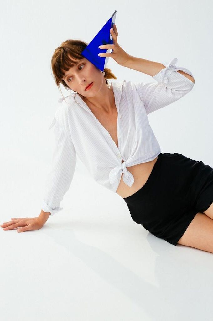 Ellice Ruiz | Emmalee wearing the Jeanette Shirt in White Pinstripe & the Steph Short in Black
