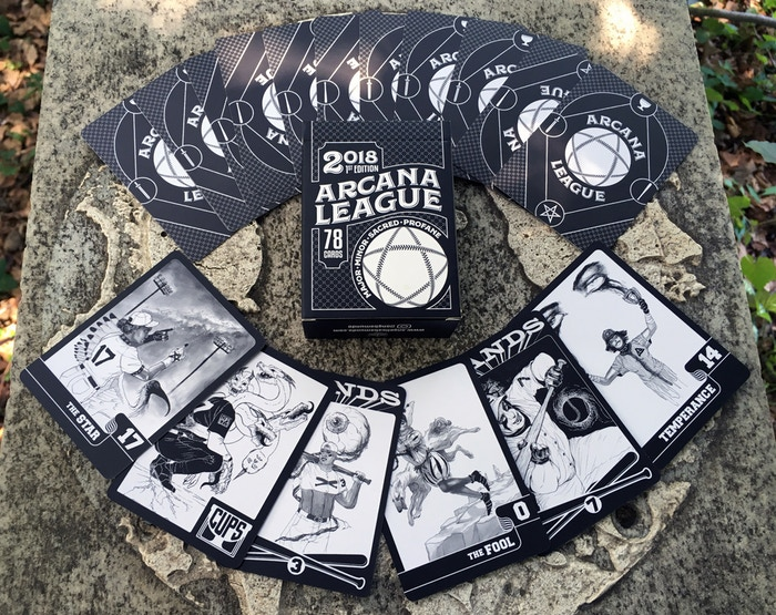Arcana League is a tarot-baseball card deck complete with the Major Arcana and four teams representing the classic Minor Arcana.