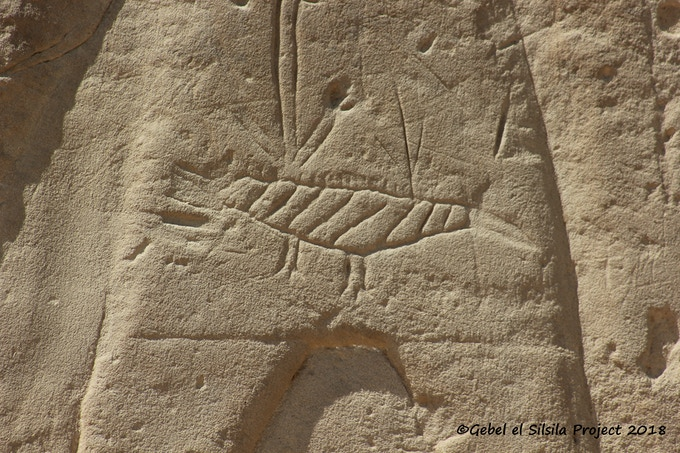 Harpooned crocodile of later period