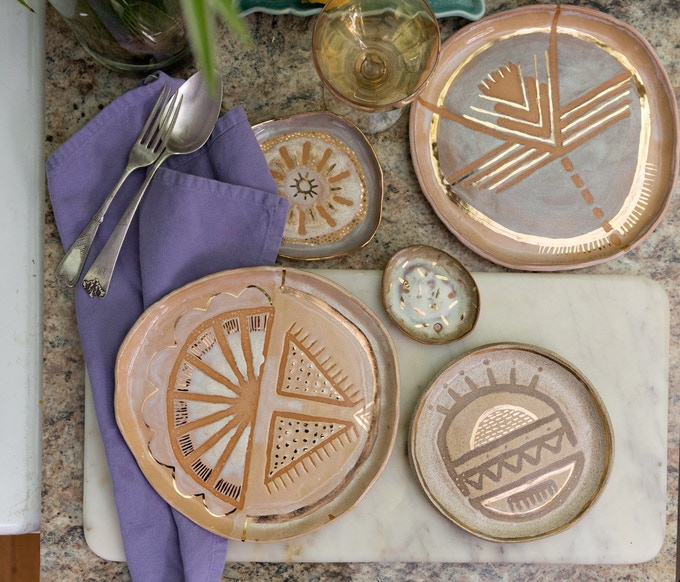 set of 5 dinner plates (custom design for you!) - $250 reward