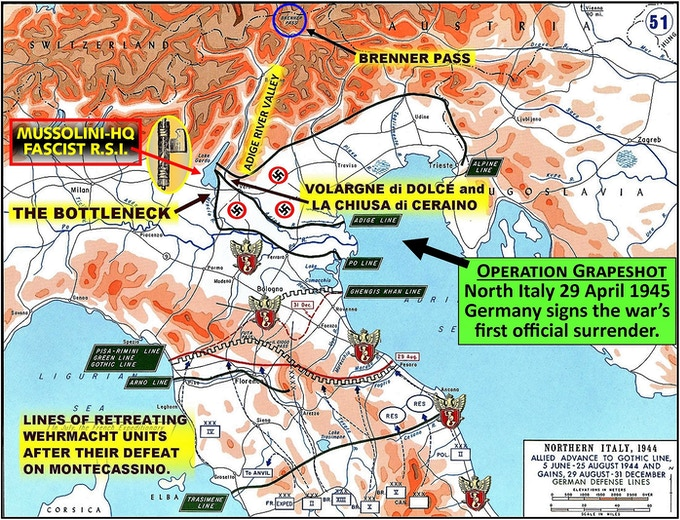 Wehrmacht defeated at Monte Cassino retreat on lines of defense that bottleneck at Volargne di Dolcé.