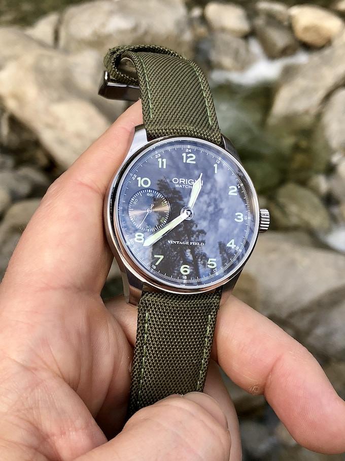 Army Green Field Strap on Field Watch Grey Dial