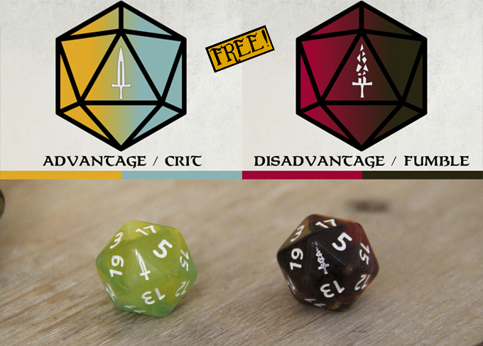 Two Advantage/Disadvantage (or critical/fumble) transparent d20s