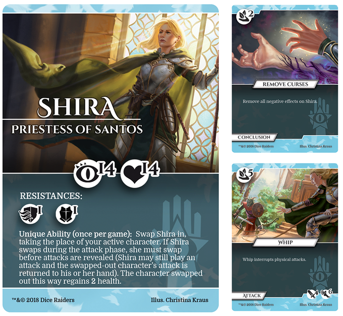 Shira worships Santos, the god of truth. She seeks to defeat a cult attempting to resurrect an evil god. She is a talented healer and a nimble warrior.