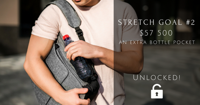 Many of our backers asked if there is a place for a SECOND bottle or for an umbrella. Therefore, we'll add one more bottle pocket to the other side of the backpack.