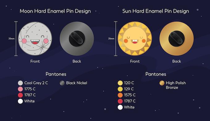 Mock up of pin designs