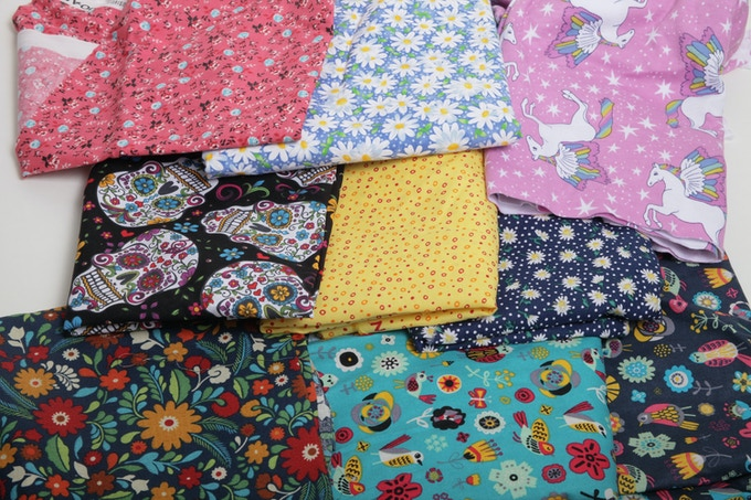 These are the fabrics that we have at the local fabric store.  Their inventory changes: some of these options may be replaced with other choices, depending on what we have access to while filling our orders.