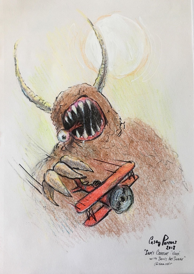 sample crayon sketch by Casey Parsons