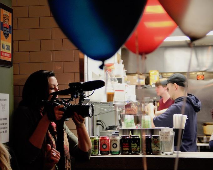 Director Hillary Bachelder shoots Bryn Bird's election party