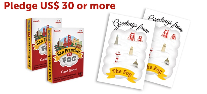 Two San Francisco VS Fog card game + Two postcards