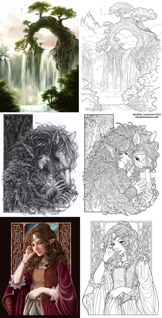 ec5b9d825 *some examples of my artwork and the coloring pages I've created from them