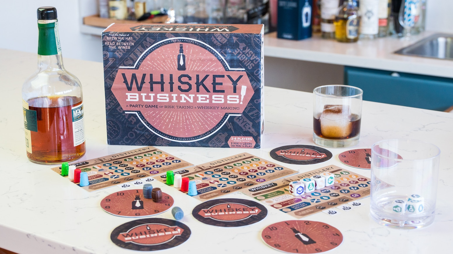 WHISKEY BUSINESS! A new fun dice game from the makers of BREW HA HA! and READ BETWEEN THE WINES! This tabletop party game is top shelf!