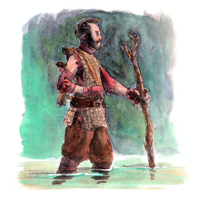 Baruk fled far into foreign lands, shearing his hair and beard as do the foreigners. Now as he returns through the swamp Yogash that offers him safe passage, it grows in as he approaches the City of Hu where he would complete past business. by Shel Kahn