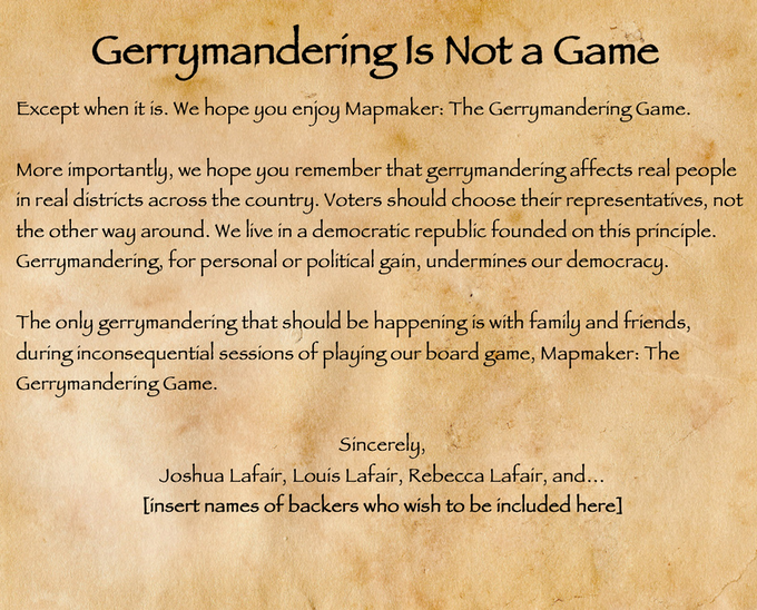 1 Gerrymandering Is Not a Game proclamation