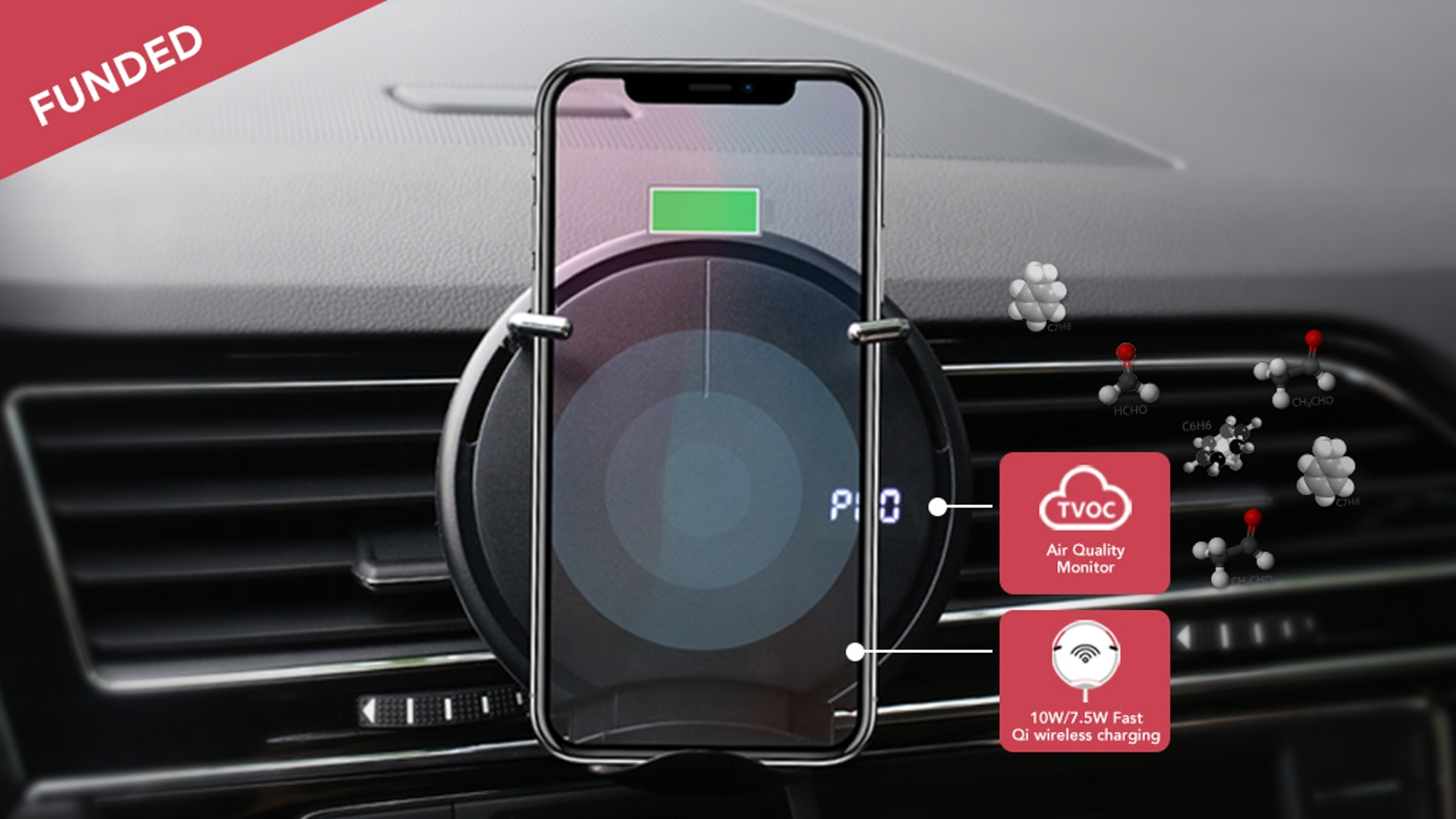 3-IN-1 FUNCTION: 10W/7.5W fast Qi wireless car charger & Air quality indicator & Gravity phone holder.