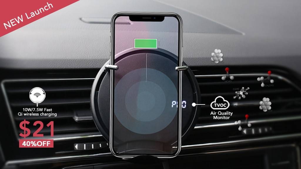 CLIPAD | Qi wireless car charger with air quality detector