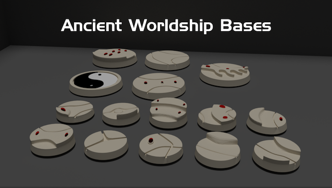 Digital render of the 25mm and 40mm bases