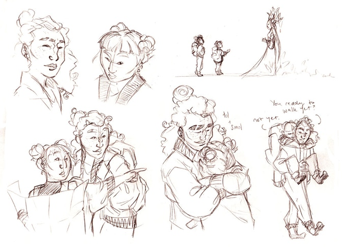 Early character concept sketches
