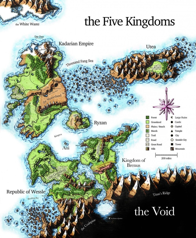 The Five Kingdoms after the breaking of the world, hand-draw by Deven Rue. Our new map will feature all of the Old World of Khalgun.