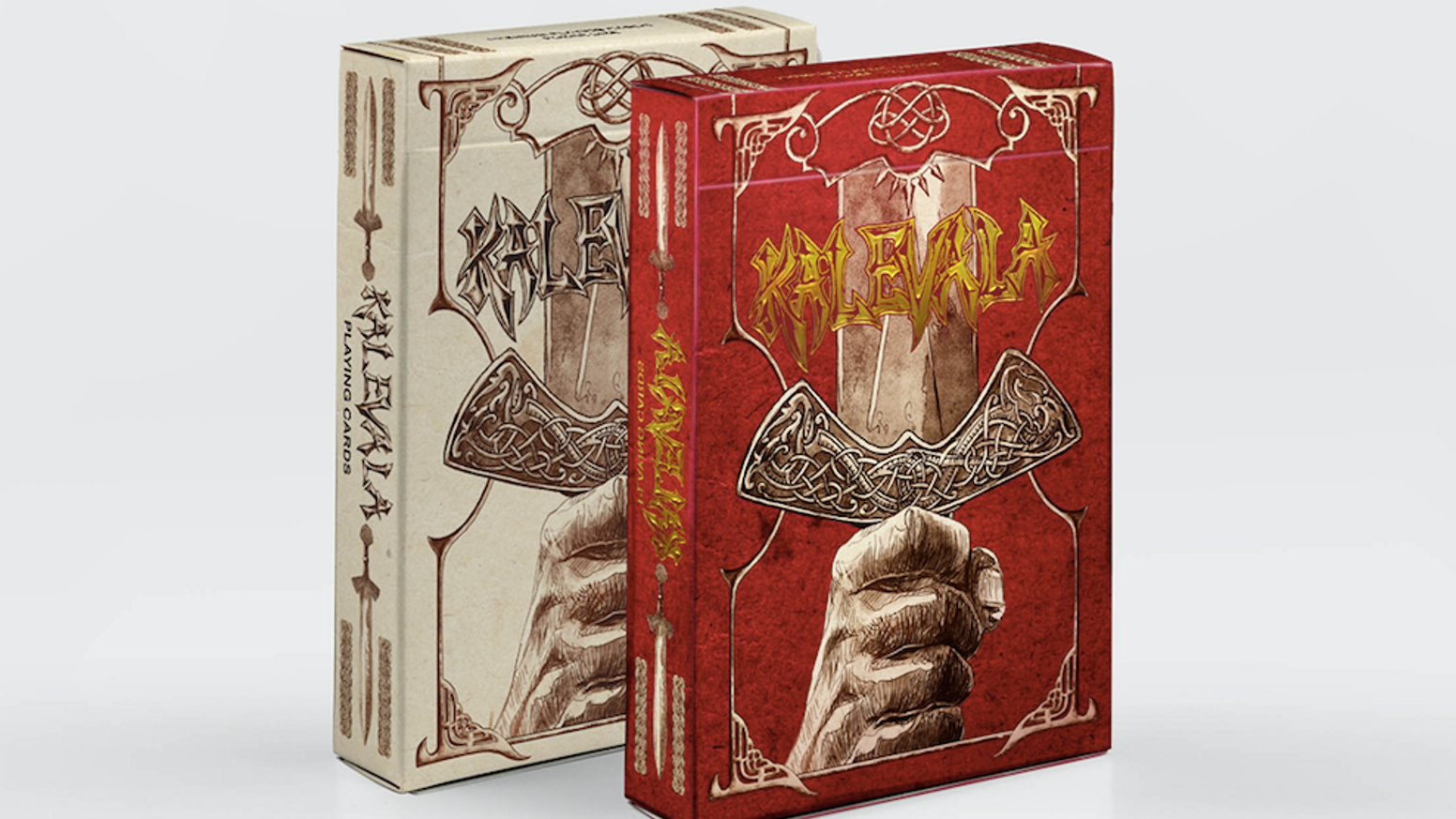 Hand-drawn set of playing cards based on the Kalevala, the epic poem of Finland & Karelia