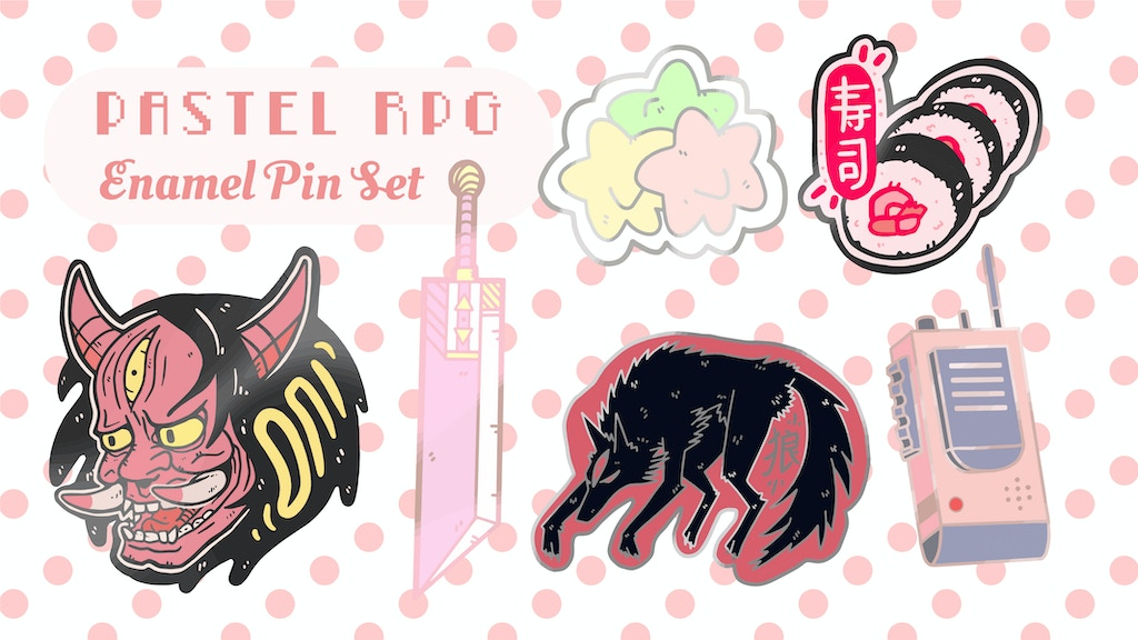 Project image for Coral Witch Co. Presents the Pastel RPG: Enamel Pin Set
