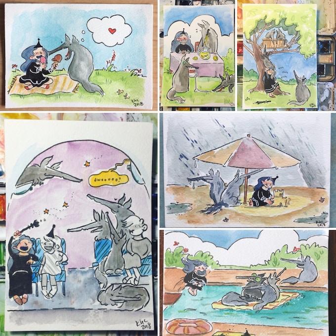 Princess Wolf's Summer Vacation Original Art Postcards