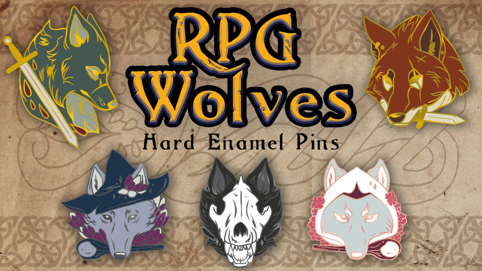A set of hard enamel pins featuring wolves of different fantasy RPG classes.