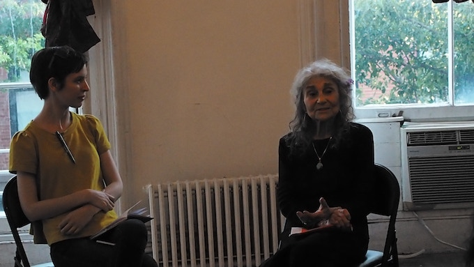 Actors Jocelyn Kuritsky & Lynn Cohen discuss Lynn's Mini Muse presentation at Torn Page. Photo by Anna Lathrop.