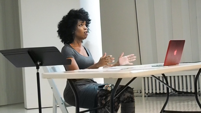 Actor Jessica Frances Dukes presents her Mini Muse at Theaterlab. Photo by Anna Lathrop.