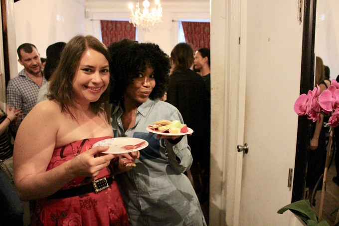 Muses Vanessa Aspillaga and Jessica Frances Dukes hang out at the Muse Kickoff at Torn Page. Photo by Anna Rooney.