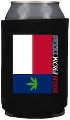 Pot Leaf TX Flag Koozie