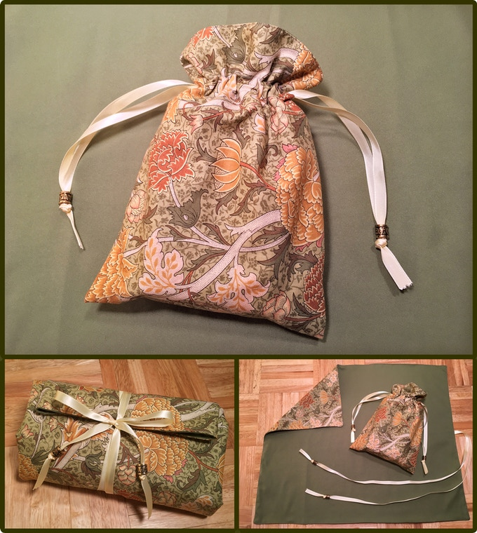 Dahlia drawstring tarot bag and spread mat, made with William Morris 1800s reproduction fabric