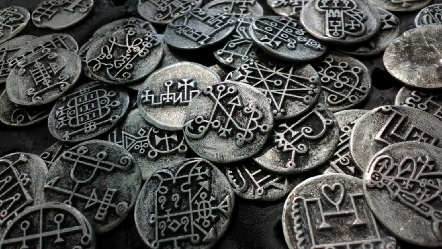 Complete set of Lesser Key of Solomon coins  --  All 80  Demon seals  of the Ars Goetia  --  Demonology sigil tokens  -- solid metal
