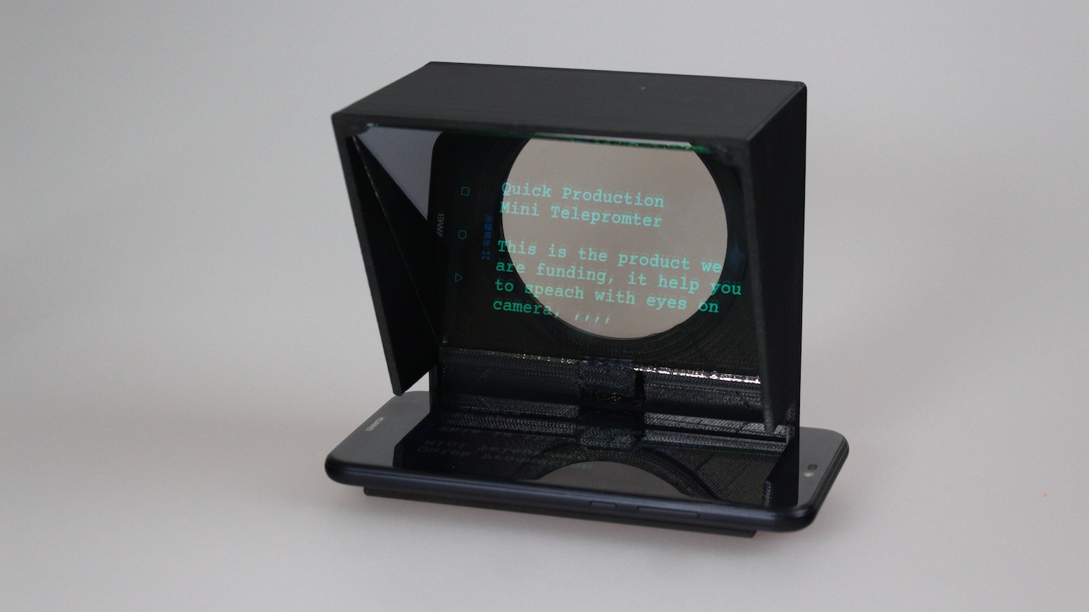 A Pro display device that prompts the person speaking with an electronic visual text of a speech, using any smartphone.