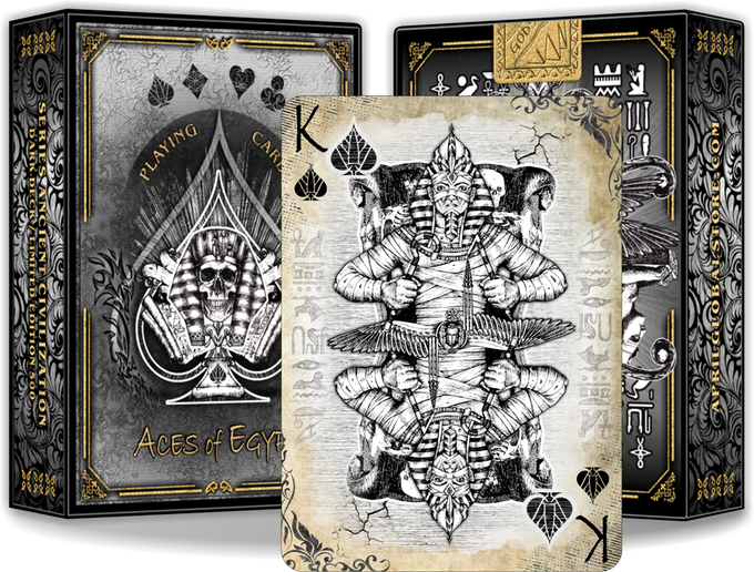 Collectible deck of playing cards handmade  artist inspired by the Gods of Egypt